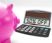 Fifty Percent Off Calculator Means Half-price Promotions