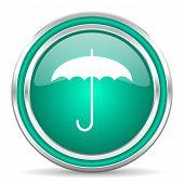 umbrella green glossy web icon