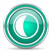 moon green glossy web icon