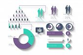 Digitally generated green and purple business infographic on white background