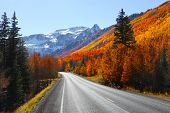 stock photo of colorado high country  - Scenic Million dollar high way in San Juan mountains - JPG