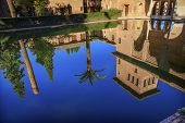 Alhambra Courtyard El Partal Pool Reflection Granada Andalusia Spain