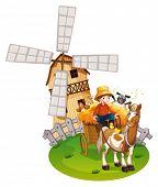 Illustration of a farmboy with windmill