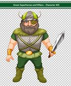 Illustration of a male viking warrior hero