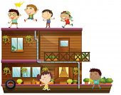 Illustration of children on a wooden boat
