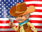 Illustration of an american flag and a cowboy