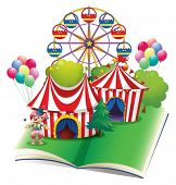 Illustration of a carnival popup book