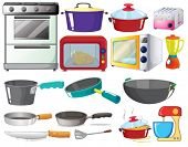 Illustration of kitchen equipments