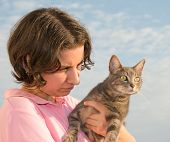 Girl with a tabby cat