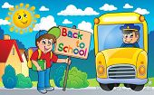 Image with school bus topic 6 - eps10 vector illustration.