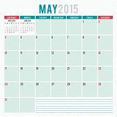 Calendar Planner 2015 Template Week Starts Sunday