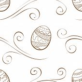 Vector. Seamless Easter Background With Eggs