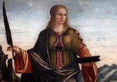 ZAGREB, CROATIA - DECEMBER 12: Vittore Carpaccio: Saint Anastasia, exhibited at the Great Masters re