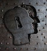 Human brain door with keyhole concept made from metal gears and cogs