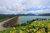 SURAT THANI, THAILAND - JUNE 2013 : Cheow Lan Dam (Ratchaprapa Dam) at Khao Sok National Park on Jun