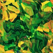 art abstract rainbow chaotic waves seamless pattern in Klimt style; background in green, yellow and