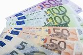 Financial Concept: Close-up Pattern Made Of Euro  Currency Banknotes