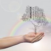 Concept or conceptual black tree media word cloud tagcloud in man or woman hand on rainbow sky backg