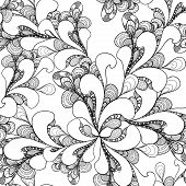 Abstract doodle seamless pattern on white background