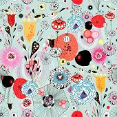 Abstract Floral Texture With Birds In Love