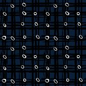 foto of cross-hatch  - Vintage striped seamless pattern with crossing brushed lines and small random white dots in dark blue and black colors - JPG