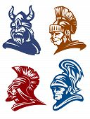 foto of viking  - Medieval warriors set with knights and viking for mascot design - JPG