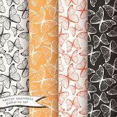 Outline butterflies seamless patterns set