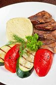 appetizer tongue with grilled vegetable