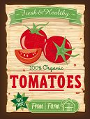 Vintage Design Organic Tomato Poster. Vector Illustration of retro-styled tomato advertising