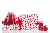Christmas, Mother's Or Valentine's Day: Red And White Gift Boxes With Bow And Ribbons, Isolated With