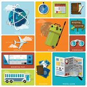foto of passport template  - Travel And Journey Flat Icon Set Design Template - JPG