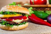 Homemade Hamburger With Fresh Vegetables, Close Up