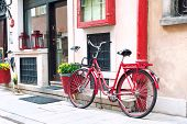 Red Retro Bicycle. Outdoors.