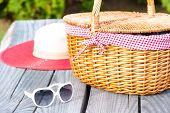 Ready For Weekend. Sunglasses Hat And Wicker Basket.
