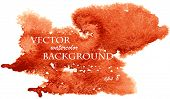 Abstract watercolor art hand paint isolated on white background. Watercolor stains. Red and orange w