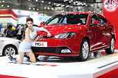 Bangkok - August 19: Mg6 Car With Unidentified Model On Display At Big Motor Sale On August, 2014 In