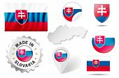 Set Of Flags, Maps Etc. Of Slovakia - Isolated On White