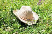 Straw Cowboy Hat On Green Meadow
