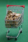 coins in the shopping basket