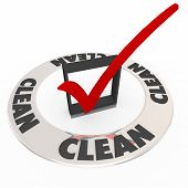 Clean word on a ring around a check mark or box as certification, verification or approval seal from