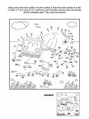 Dot-to-dot and coloring page - elephant