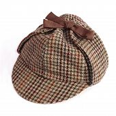 foto of sherlock  - Deerstalker Or Sherlock Holmes Cap isolated on white - JPG