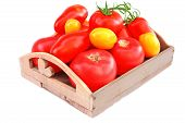 Different Colors And Size Tomatoes In Wooden Box