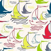 Seamless pattern with vintage decorative sailing ships on waves