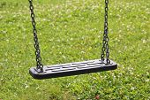 Children Swing, Against Green Grass, Childrens Playground