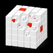 White Cube With Red Parts