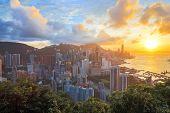 HDR: Sunset in hong kong city Skyline from braemar hill
