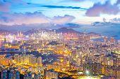 Hong Kong Skyline Kowloon from Fei Ngo Shan hill at dusk