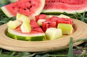 Watermelon and melon on bamboo plate on grass on natural background