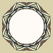 Ethnic round ornamental frame, abstract background